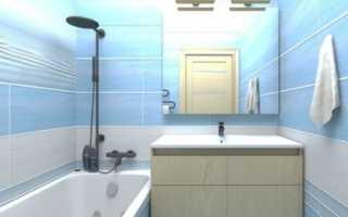 Еще одна идея для небольшой ванной в голубом цвете