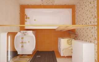 Романтизм в оранжевых цветах для маленькой ванной