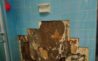 Часть плиток отвалилось от стены
