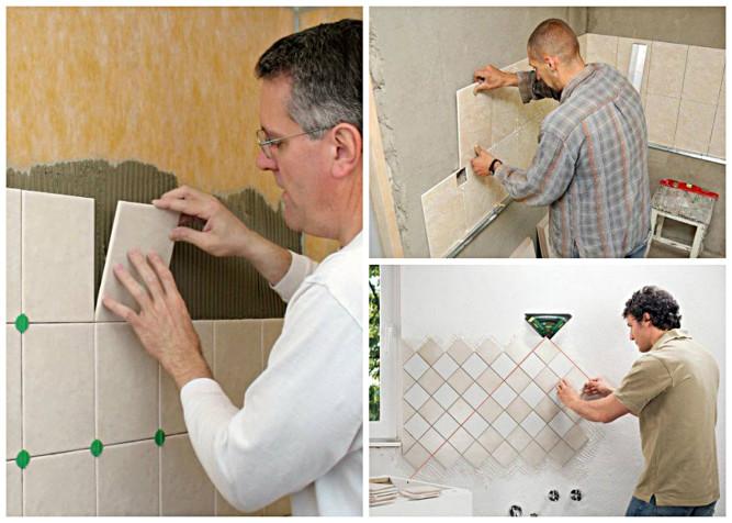 Укладка плитки на стены в ванной