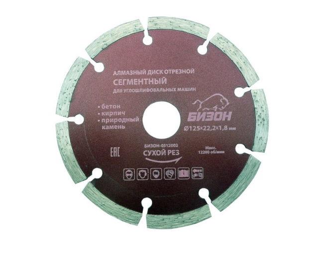 Алмазный диск отрезной БИЗОН 0512003