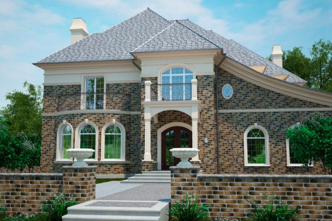 Облицовка загородного дома фасадной плиткой