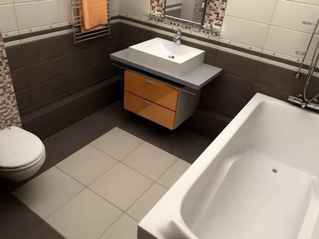 Кафель другого цвета в ванной