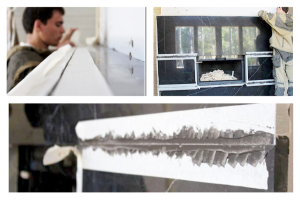 Облицовка камина чёрно-белым мрамором