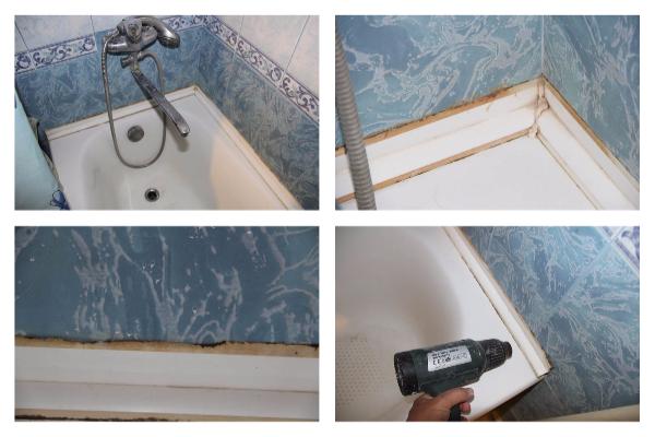 Установка пластикового бордюра в ванной и на кухне