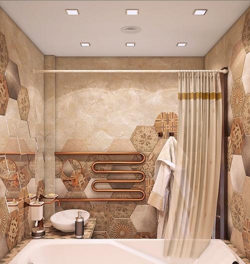 Бежево-коричневая ванная в этническом стиле