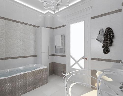 Белая неоклассика с коричневыми нотами для ванной с большим окном
