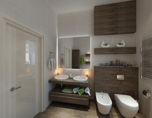 Белая ванная с деревянными вставками