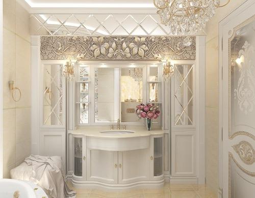 Бело-бежевая ванная в классическом стиле с золотом