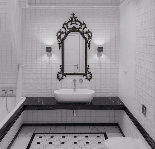 Черно-белая ванная в стиле нео-классика