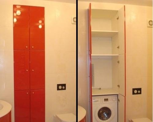 шкаф в маленькой ванной комнате фото