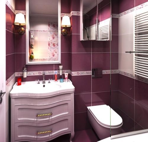 Фиалковый цвет в интерьере ванной