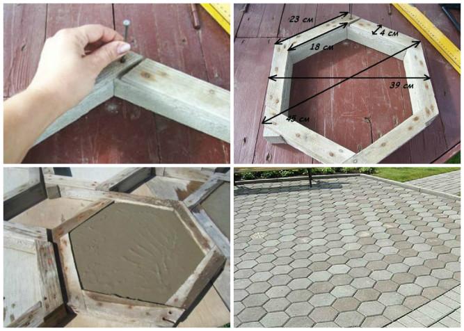 Форма из дерева для шестигранной тротуарной плитки