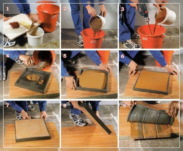Процесс изготовления плиток в силиконовых формах