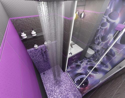 Футуристические картинки в серо-фиолетовой душевой