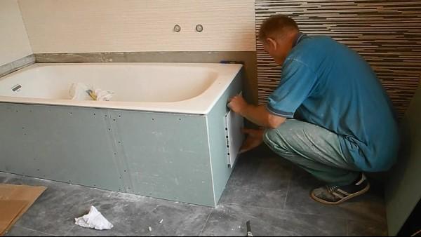 кафель в ваннои на гипсокартон