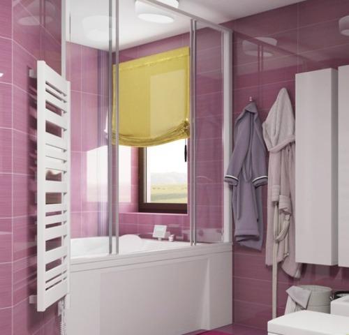 Глянцевый, фиалковый кафель для ванной в стиле хайтек