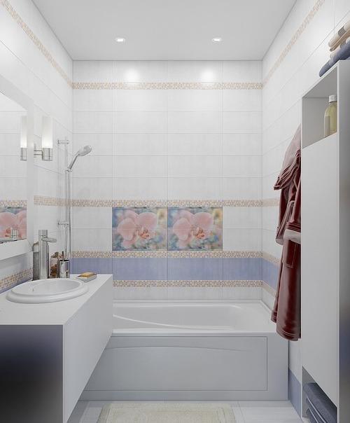 Интересно оформляем маленькую ванную без туалета