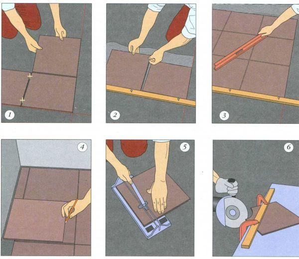 Укладывать плитку нужно с угла, направляясь к дверному проему
