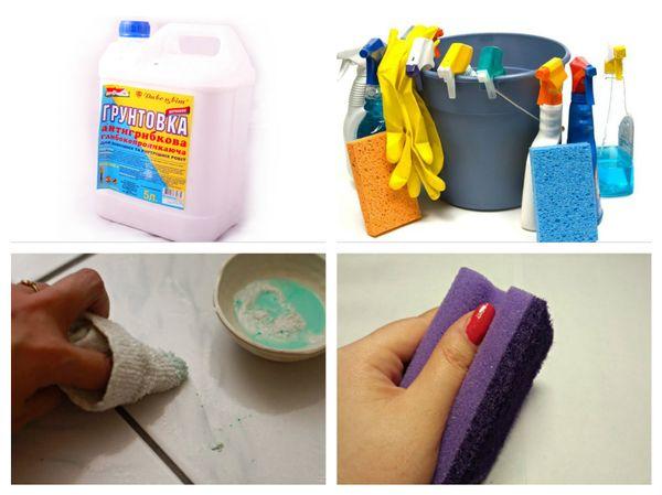 чистка плитки от грунтовки