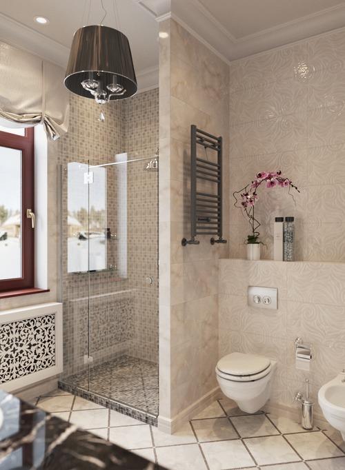 Классическая ванная в кафеле под мрамор