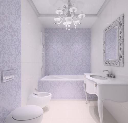 Классический вариант ванной в светло-фиолетовом цвете