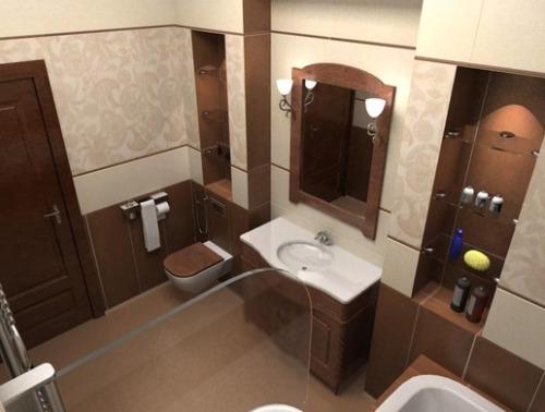 Коричнево-бежевые тонна в ванной