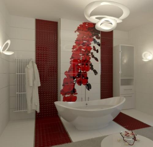Красно-белая ванная комната в стиле модерн