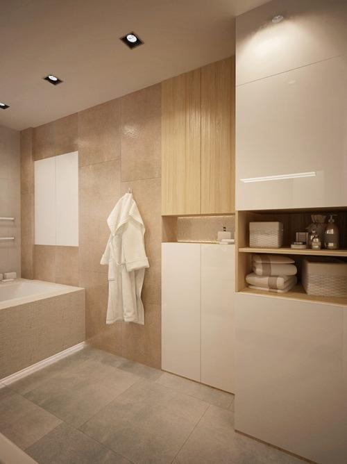 Минимализм для ванной с оконным проемом