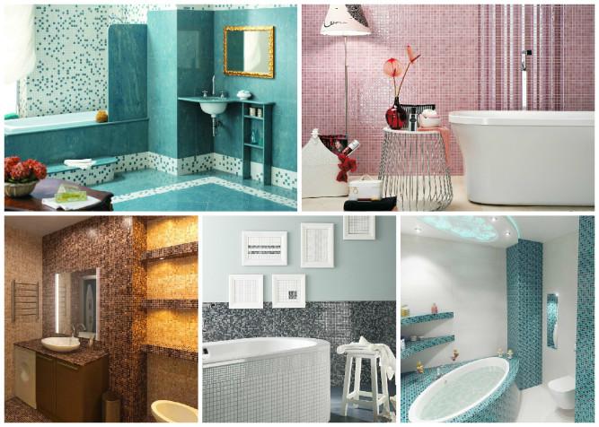 Варианты использования мозаики в ванной комнате