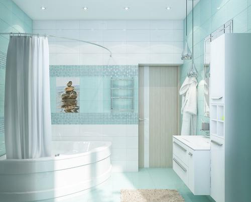 Просторная бирюзовая ванная