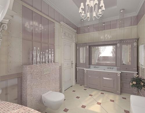Ванная с окном в классическом стиле, светло-розового цвета