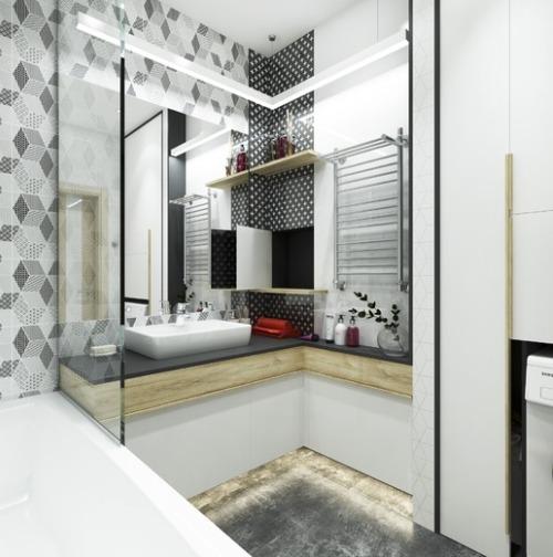 Модная серо-белая ванная