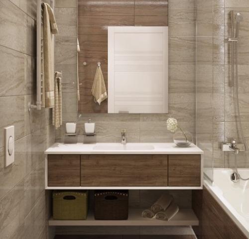 Серо-коричневая отделка ванной комнаты