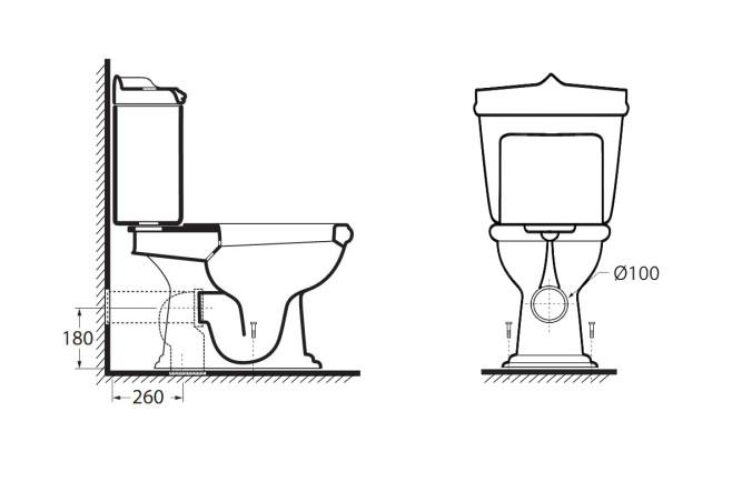 Схематическое изображение конструкции унитаза