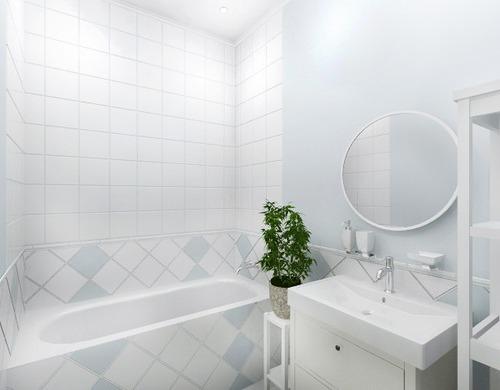 Скандинавский стиль небольшой ванной без туалета