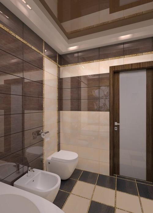 Сочетание коричневого, бежевого и синего цветов в ванной