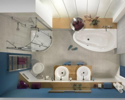 Два умывальника, унитаз, ванная и душевая кабина