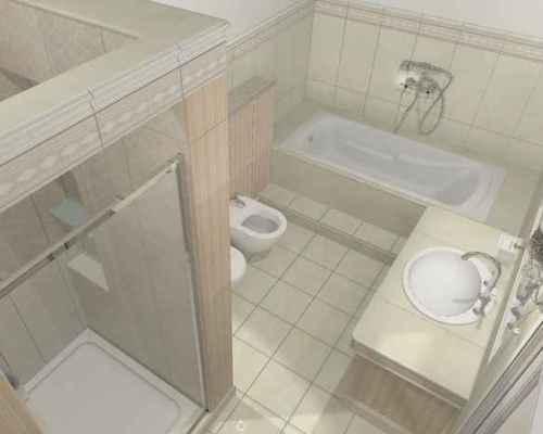 Светлый вариант с ванной и душевой