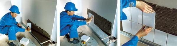 укладка керамическои плитки на стену