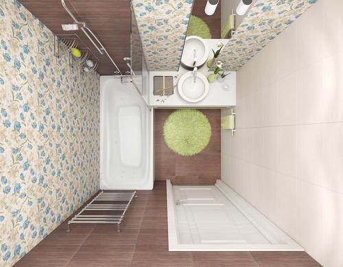 Стиль романтизм в маленькой ванной без туалета