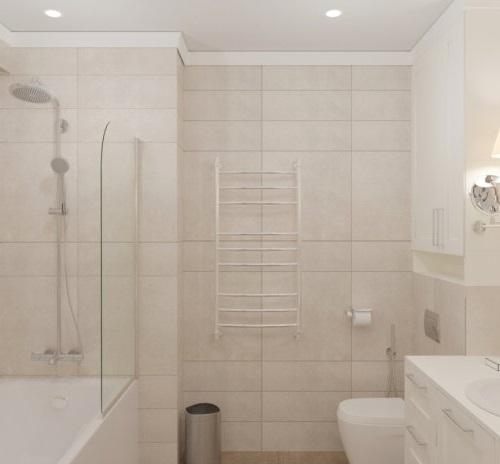Кремовая ванная в классическом стиле