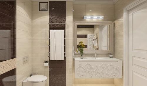 Темно-шоколадный и бежевый цвет для ванной