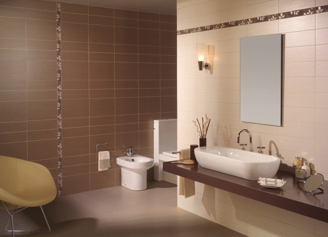 Интерьер ванной комнаты со спрятанными коммуникациями