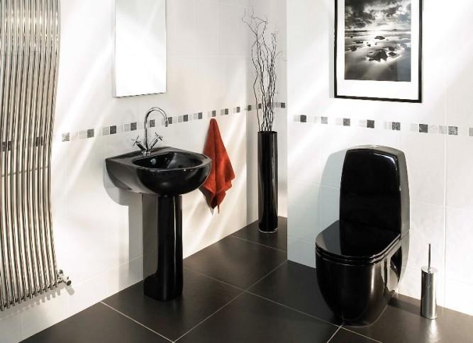 Интерьер туалета с плиткой