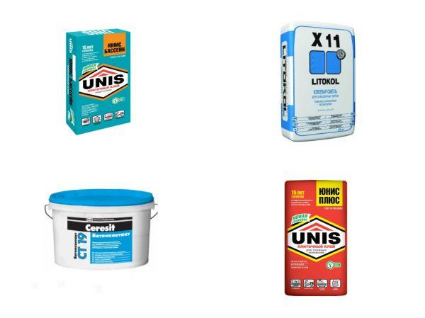 Плиточные клеи Юнис-плюс, Юнис-бассейн, Литокол Х-11 и Церезит СМ-119