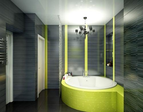 Ванная черного цвета с элементами желтого