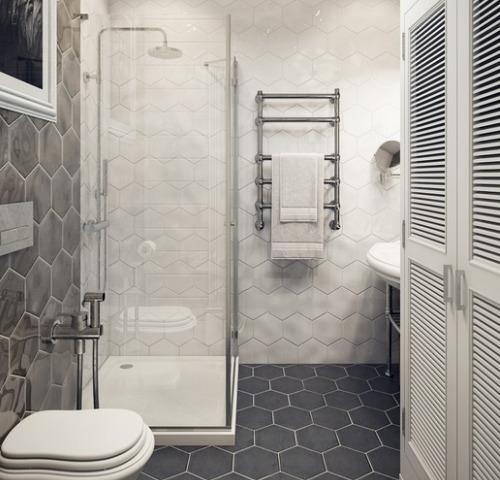 Модная ванная, выложенная шестиугольной плиткой
