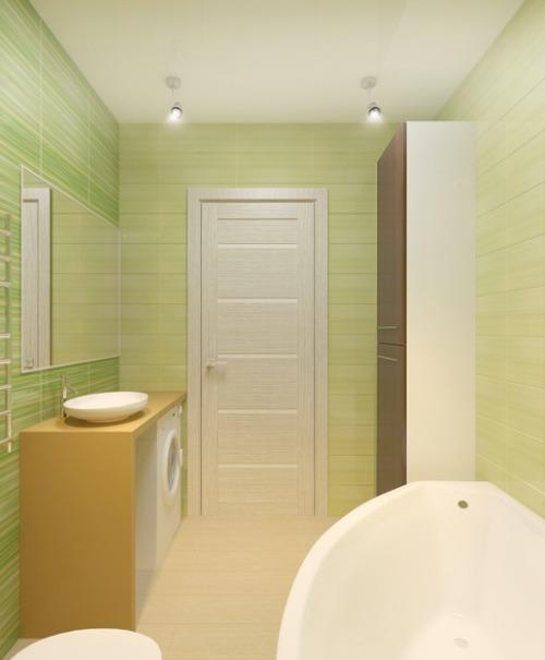 Зеленый оттенок для ванной в стиле хай тек